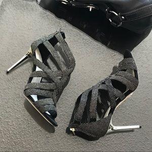 Karen Walker NEW Strappy Metallic Heels Stiletto 7